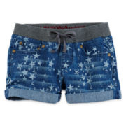 Arizona Knit-Waist Print Denim Shorts - Girls 7-16 and Plus