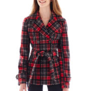 Jou Jou Long-Sleeve Plaid Double-Breasted Trench Jacket