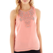 XOXO® Sleeveless Necklace-Trim Chiffon Top