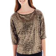 XOXO® Dolman-Sleeve Sequin Top