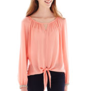 XOXO® Long-Sleeve Chiffon Tie-Front Blouse