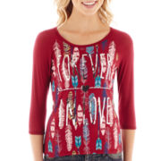 Sugar High Raglan-Sleeve Feather Print Graphic Tee
