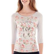 Sugar High Raglan-Sleeve Floral Print Graphic Tee