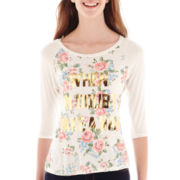 Sugar High 3/4-Sleeve Floral Print Graphic Tee