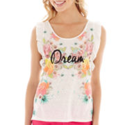 Arizona Sleeveless Ruffled Graphic Muscle Tee