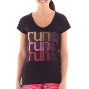 Xersion™ Short-Sleeve High-Low Graphic V-Neck Tee