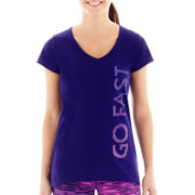 Xersion™ Short-Sleeve High-Low Graphic V-Neck T-Shirt