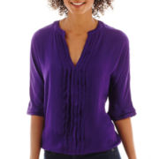 a.n.a® 3/4-Sleeve Pleat-Front Banded Blouse