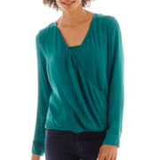 a.n.a® Long-Sleeve Drape-Front Wrap Top