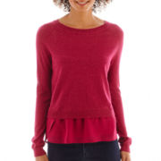 a.n.a® Long-Sleeve Chiffon Bottom Sweater
