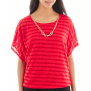 Alyx® Short-Sleeve Textured Top with Necklace