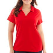 St. John's Bay® Short-Sleeve Piqué Knit Polo Shirt - Plus