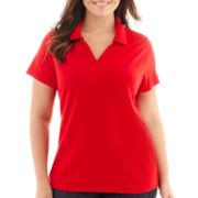 St. John's Bay® Short-Sleeve Piqué Knit Polo Shirt - Plus