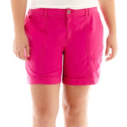 a.n.a® Cuffed Poplin Flap Pocket Shorts - Plus