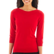 Worthington® 3/4-Sleeve Shirred Boatneck Sweater - Tall