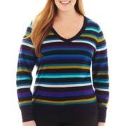 Worthington® Long-Sleeve V-Neck Sweater - Plus