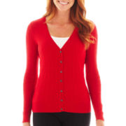 Liz Claiborne Long-Sleeve Cable Cardigan Sweater - Tall