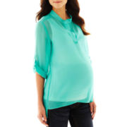 Maternity Roll-Sleeve Sheer Top