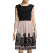 Tiana B. Cap-Sleeve Lace-Overlay Fit-and-Flare Dress - Tall