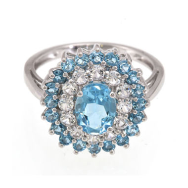 jcpenney.com | Genuine Blue Topaz and Lab-Created White Sapphire Sterling Silver Ring
