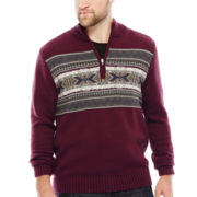 IZOD® Fair Isle Quarter-Zip Sweater - Big & Tall