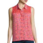 Arizona Sleeveless Split-Back Lace-Inset Top