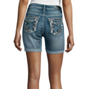 Love Indigo Embellished Back-Flap Pocket Denim Shorts