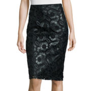 Bisou Bisou® Faux-Leather Lace Pencil Skirt