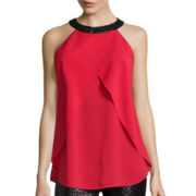 Bisou Bisou® Draped Halter Top with Sequins
