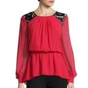 Bisou Bisou® Long-Sleeve Printed Peplum Top