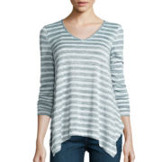 a.n.a® Long-Sleeve V-Neck Stripe Shirt