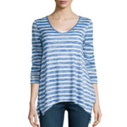 a.n.a® Long-Sleeve V-Neck Stripe Shirt- Petites