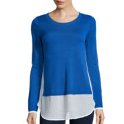a.n.a® Long-Sleeve Side-Slit Layered Sweater