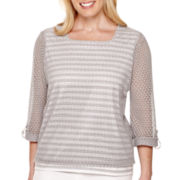 Alfred Dunner® Cape Hatteras 3/4-Sleeve Lace-Overlay Top - Plus