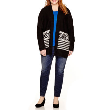 jcpenney.com | a.n.a® Fairisle-Hem Oversized Cardigan, Woven Pleat-Back Top or Skinny Jeans - Plus