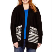 a.n.a® Long-Sleeve Fairlisle-Hem Oversized Cardigan - Plus