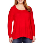 a.n.a® Long-Sleeve Woven Pleat-Back Top - Plus