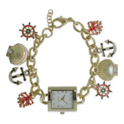 Womens Nautical-Themed Charm Bracelet Watch