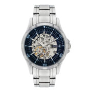 Elgin® Mens Skeleton Silver-Tone Bracelet Watch