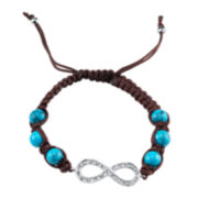 Footnotes Too® Turquoise & Crystal Infinity Brown Macramé Bracelet