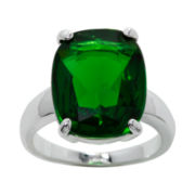 city x city® Pure Silver-Plated Green Crystal Cocktail Ring