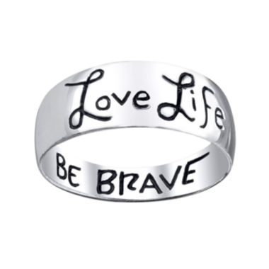 jcpenney.com | Footnotes® Love Life, Be Brave Sterling Silver Band Ring