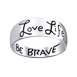 Footnotes® Love Life, Be Brave Sterling Silver Band Ring