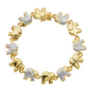 Classic Treasures™ 14K Gold-Plated Two-Tone Brass Elephant Bracelet