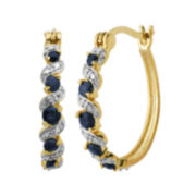 Genuine Sapphire and Diamond-Accent Hoop Earrings
