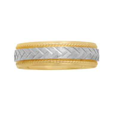 jcpenney.com |  Mens 6mm Braided Center Wedding Band in Two-Tone Gold