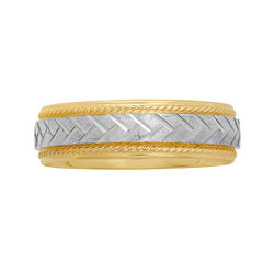 BEST VALUE! Mens 6mm Braided Center Wedding Band in Two-Tone Gold
