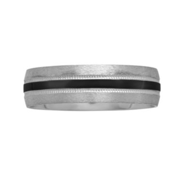 jcpenney.com |  Mens 6mm Black-Rhodium Plated Wedding Band in 10K Gold