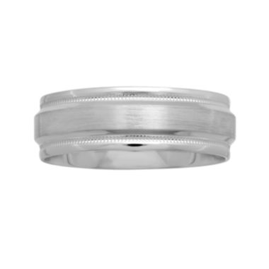 jcpenney.com |  Mens 7mm Satin-Beveled Edge Wedding Band in 10K White Gold