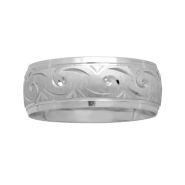 jcpenney.com |  Mens 8mm Swirl-Pattern Wedding Band in 10K White Gold
